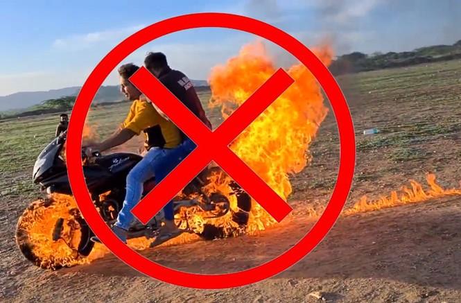YouTuber Ấn Độ bị chỉ trích vì tẩm xăng đốt xe rồi lái như thường để quay video câu view - ảnh 1