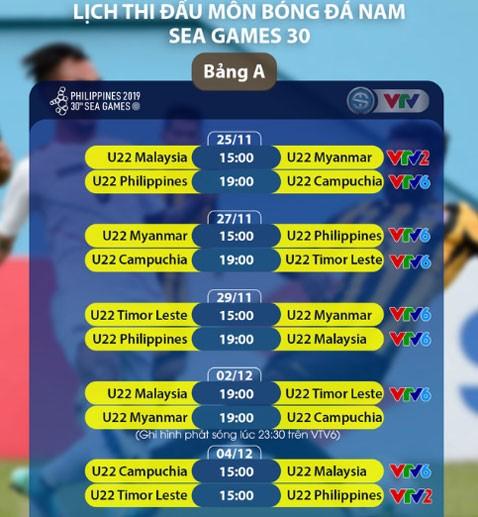 Lịch thi đấu môn bóng đá nam và nữ SEA Games 2019 - ảnh 1