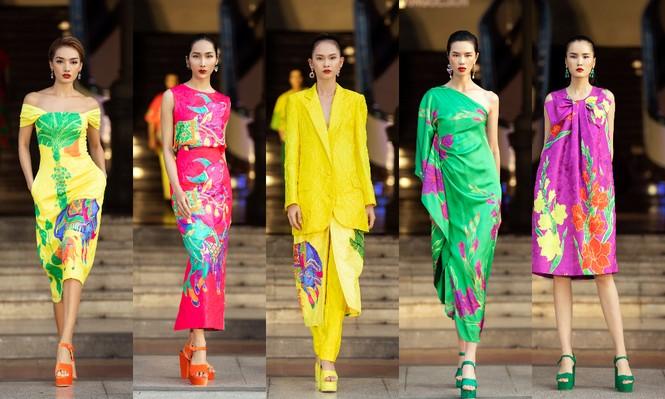 Hoa hậu Tiểu Vy mở màn với thiết kế váy lạ mắt, Võ Hoàng Yến mặc váy nặng 30kg kết show - ảnh 7