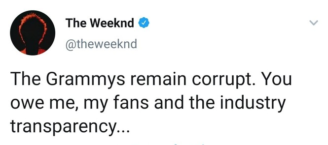 """The Weeknd bất bình, lên tiếng vạch mặt Grammy sau khi hit """"Blinding Lights"""" bị ngó lơ - ảnh 1"""