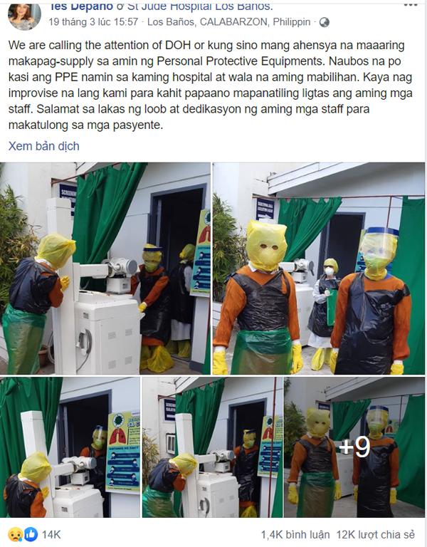 Thiếu thiết bị vật tư y tế, đội ngũ y bác sĩ phải tự chế đồ bảo hộ... từ túi đựng rác - ảnh 1