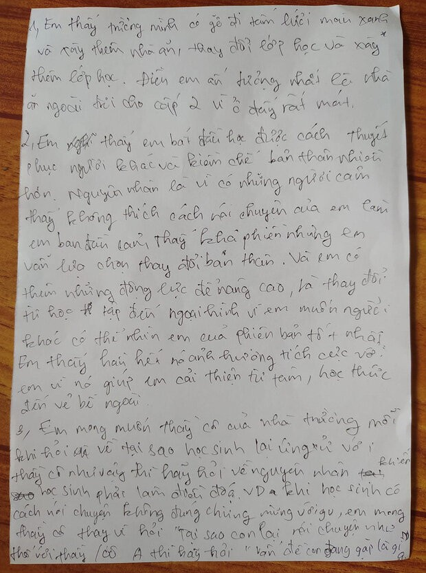 Bức thư của teen lớp 7: