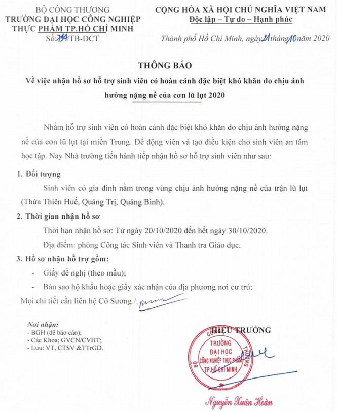 Nhiều trường ĐH, CĐ miễn giảm học phí, tặng học bổng cho sinh viên vùng lũ miền Trung - ảnh 3