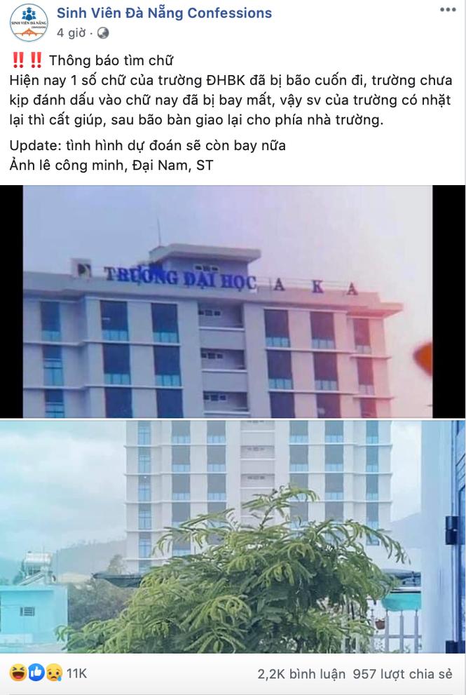 Bảng tên trường Đại học bị bão cuốn bay, sinh viên Đà Nẵng nhờ cộng đồng mạng tìm hộ - ảnh 1