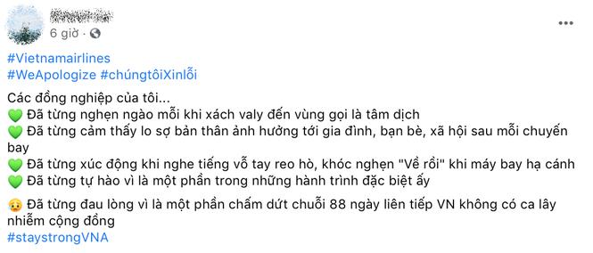 Hàng loạt tiếp viên của Vietnam Airlines đăng hashtag xin lỗi, mong được đối xử văn minh - ảnh 4