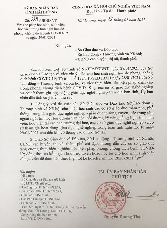 Học sinh, sinh viên tỉnh Hải Dương nghỉ học từ mai 28/1, TP Chí Linh giãn cách xã hội - ảnh 1