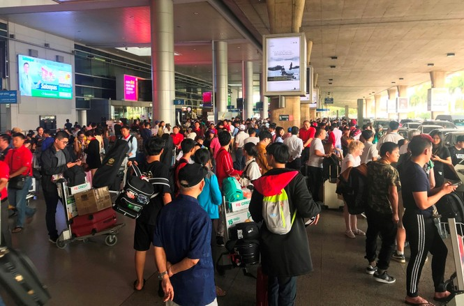 Ngủ gục ở sân bay Tân Sơn Nhất đón Việt kiều về quê ăn tết - ảnh 1
