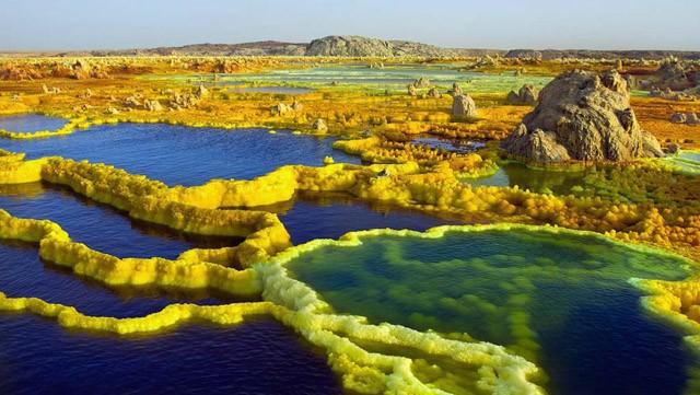 Dallol núi lửa ao mặn axit suối nước nóng không có vi sinh vật Ethiopia - ảnh 17