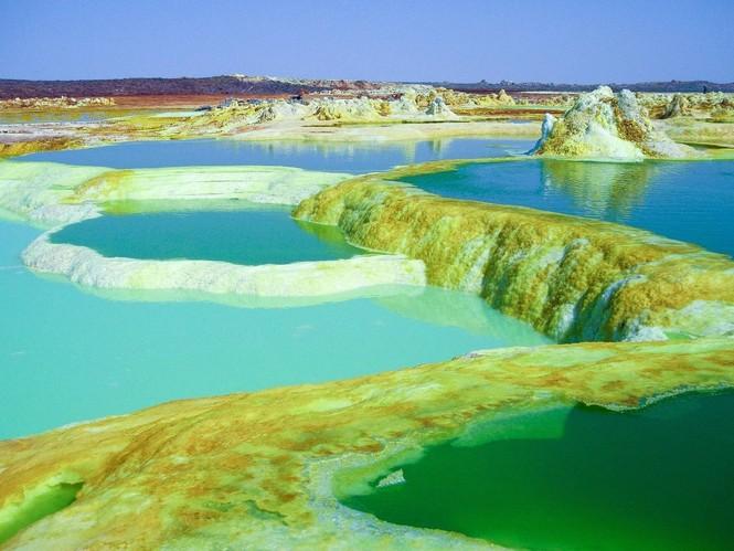 Dallol núi lửa ao mặn axit suối nước nóng không có vi sinh vật Ethiopia - ảnh 18