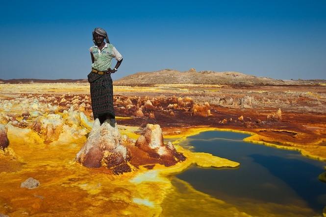 Dallol núi lửa ao mặn axit suối nước nóng không có vi sinh vật Ethiopia - ảnh 21