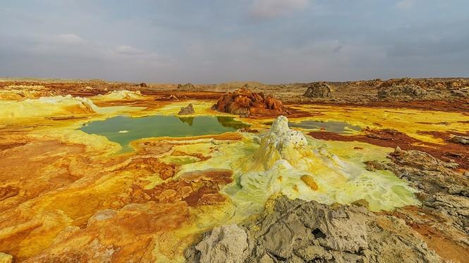 Dallol núi lửa ao mặn axit suối nước nóng không có vi sinh vật Ethiopia - ảnh 1