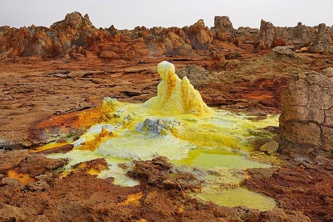 Dallol núi lửa ao mặn axit suối nước nóng không có vi sinh vật Ethiopia - ảnh 4