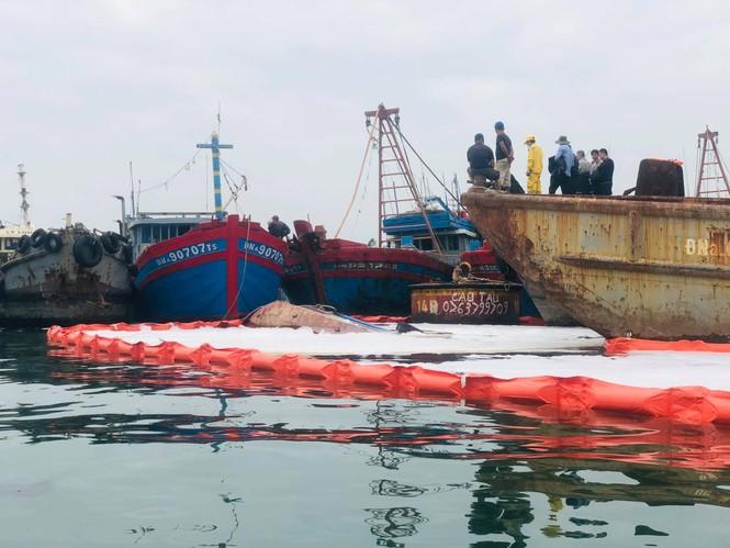 Khẩn trương xử lý sự cố tràn dầu trên âu thuyền, cảng cá Thọ Quang - ảnh 3