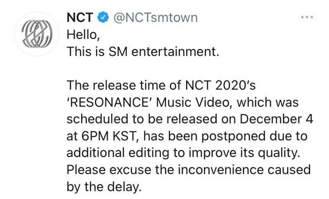Lại bài cũ của SM, MV của NCT hoãn phát hành với lý do nâng cao chất lượng - ảnh 1
