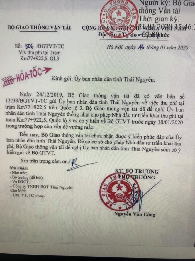 Vì sao Bộ GTVT ra công văn hỏa tốc gửi Thái Nguyên về BOT Thái Nguyên-Chợ Mới? - ảnh 1