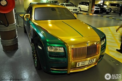 Lóa mắt bởi Rolls-Royce Ghost 'mặc áo' vàng-xanh - ảnh 4