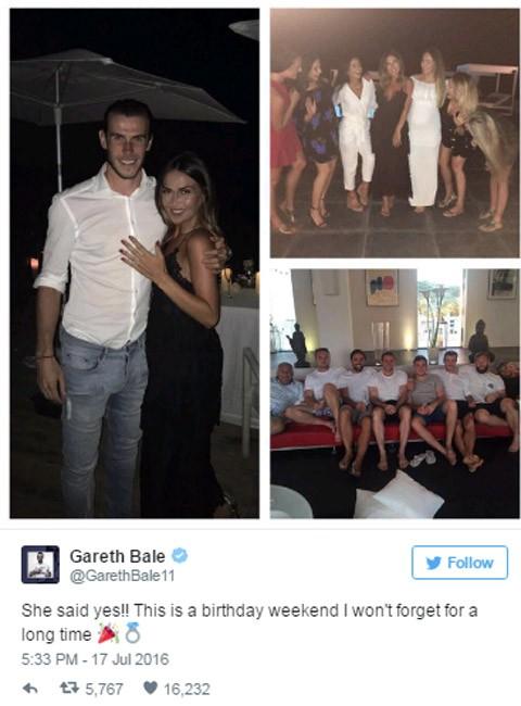 Ngôi sao Gareth Bale đính hôn với bạn gái sau sinh nhật - ảnh 1