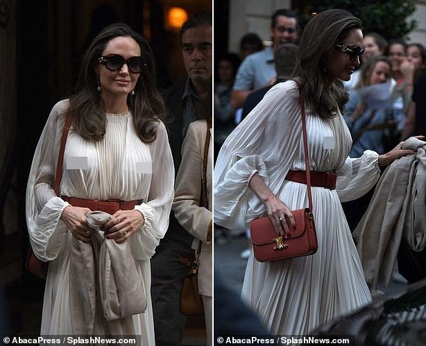 Angelina Jolie bất ngờ táo bạo 'thả rông' vòng một trên phố - ảnh 4