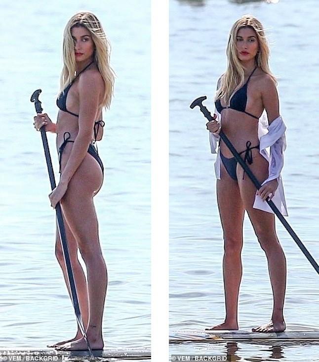 Hailey Bieber phô diễn dáng nuột nà, chuẩn 'từng cm' với bikini trên biển - ảnh 3