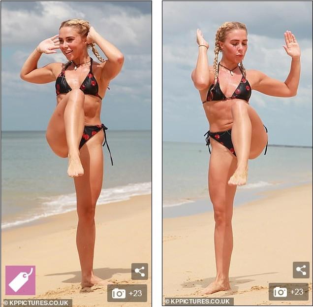 Sao truyền hình Anh Gabby Allen diện bikini bé xíu, tập cơ trên bãi biển - ảnh 11