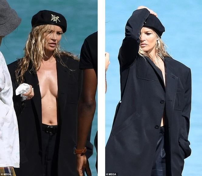 Kate Moss vô tư phơi ngực trần trong buổi chụp hình cho Dior - ảnh 1
