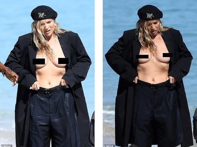Kate Moss vô tư phơi ngực trần trong buổi chụp hình cho Dior - ảnh 2