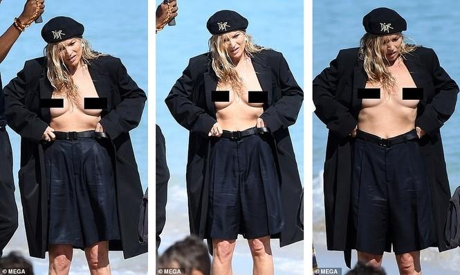 Kate Moss vô tư phơi ngực trần trong buổi chụp hình cho Dior - ảnh 3
