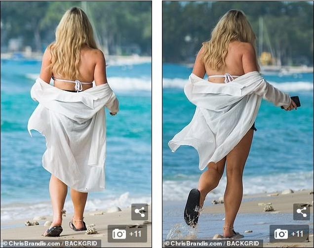 Nữ youtuber diện bikini khoe vòng một nảy nở trên bãi biển - ảnh 5