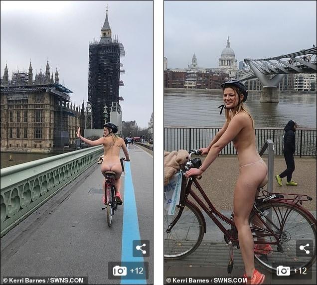 Cô gái gần như khoả thân, đạp xe quanh London giữa lạnh giá 10 độ C vì lý do bất ngờ - ảnh 3