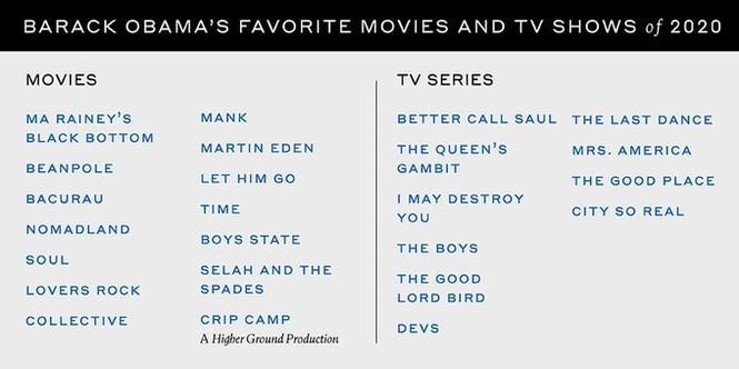 Ông Obama tiết lộ phim, ca khúc và sách yêu thích nhất năm 2020 - ảnh 2