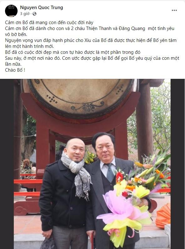 Nhạc sĩ Quốc Trung viết tâm thư tiễn biệt bố - NSND Trung Kiên - ảnh 1