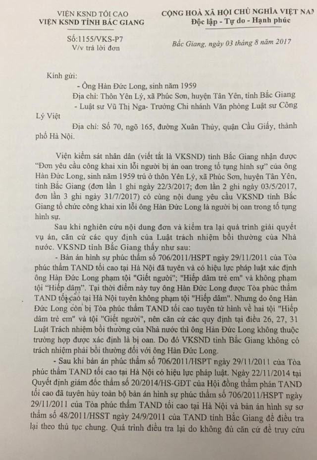 Viện KSND Bắc Giang bác yêu cầu đòi xin lỗi của ông Hàn Đức Long - ảnh 2