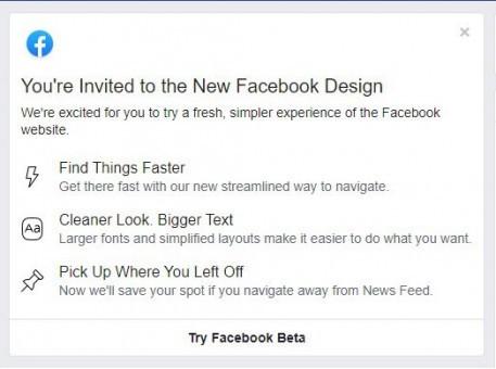 Facebook mời dùng thử giao diện web mới, có chế độ ban đêm huyền bí - ảnh 1