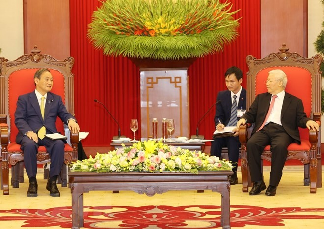 Tổng Bí thư, Chủ tịch nước Nguyễn Phú Trọng tiếp Thủ tướng Nhật Bản - ảnh 3