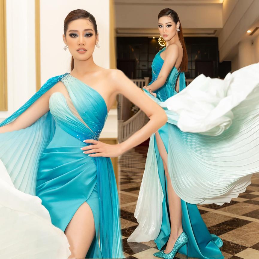 Hoa hậu Tiểu Vy xinh đẹp với áo dài lạ mắt, Khánh Vân diện váy dạ hội cắt xẻ nóng bỏng  - ảnh 6