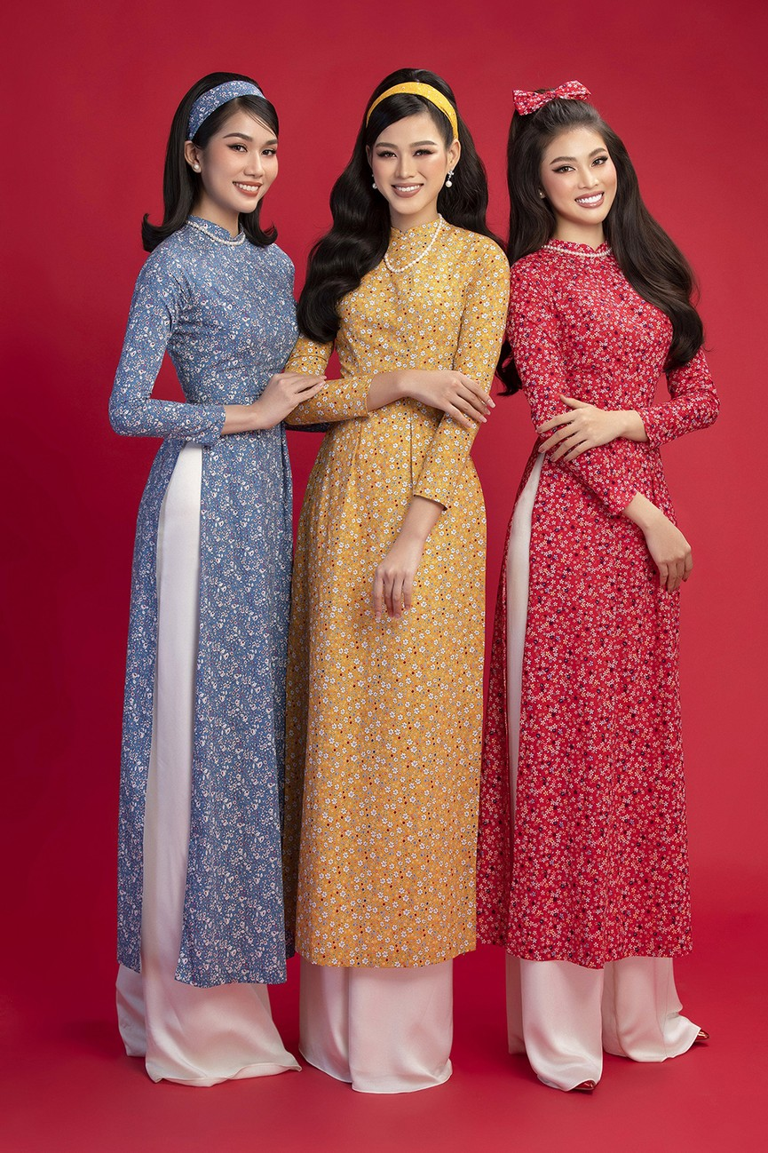 Diện áo dài Tết theo phong cách xưa, Top 3 HHVN 2020 đẹp như minh tinh thập niên 50 - ảnh 1