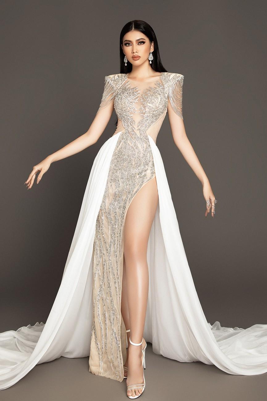 Lộ diện váy dạ hội mang thông điệp hòa bình của Ngọc Thảo tại bán kết Miss Grand - ảnh 3