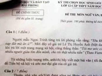 Sở Giáo dục nói về đề Văn HS giỏi có Bà Tưng, Ngọc Trinh