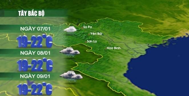 Thời tiết 3 ngày tới: Miền Bắc có mưa nhỏ rải rác, trời rét