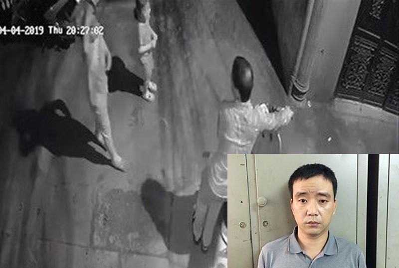 Đối tượng Phúc tại cơ quan điều tra và hình ảnh do camera ghi lại.