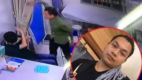 Trương Văn Thanh hành hung, đánh thẳng vào mặt bác sỹ Xanh Pôn ngay tại phòng bệnh. Ảnh cắt từ clip