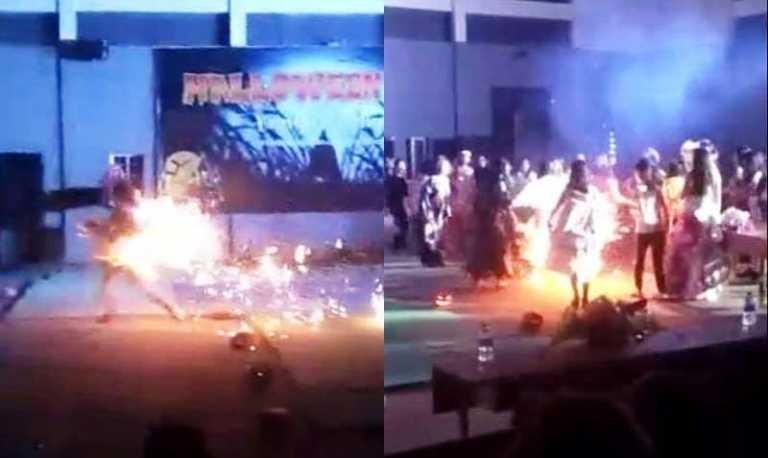 Nữ sinh Nghệ An bốc cháy như đuốc tại lễ hội Halloween. Ảnh cắt từ clip
