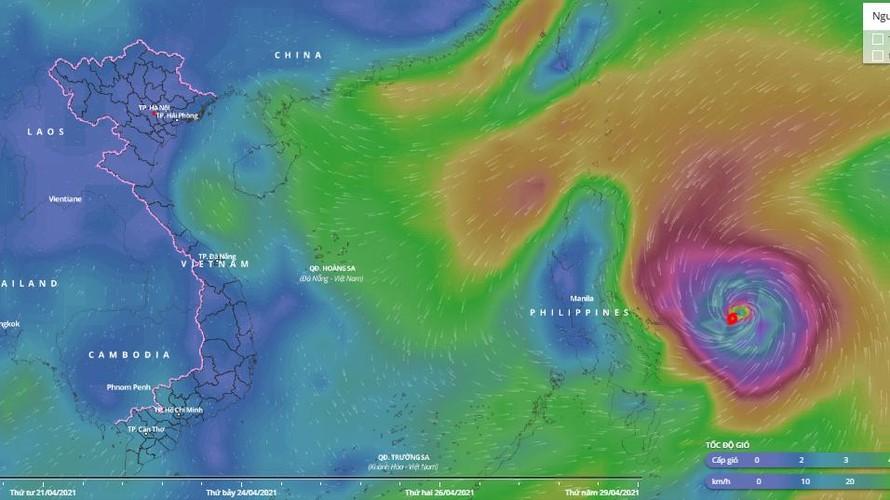 Siêu bão Surigae đang hoành hành trên vùng biển phía Đông miền Trung Philippines.