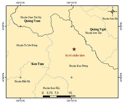 Tây Nguyên xảy ra trận động đất mạnh nhất trong hơn một tháng qua