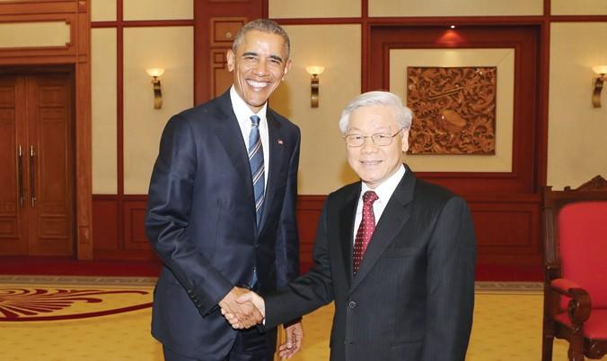Ngày 23/5/2016, tại Trụ sở Trung ương Ðảng, Tổng Bí thư Nguyễn Phú Trọng tiếp Tổng thống Mỹ Barack Obama thăm chính thức Việt Nam. Ảnh: Trí Dũng.