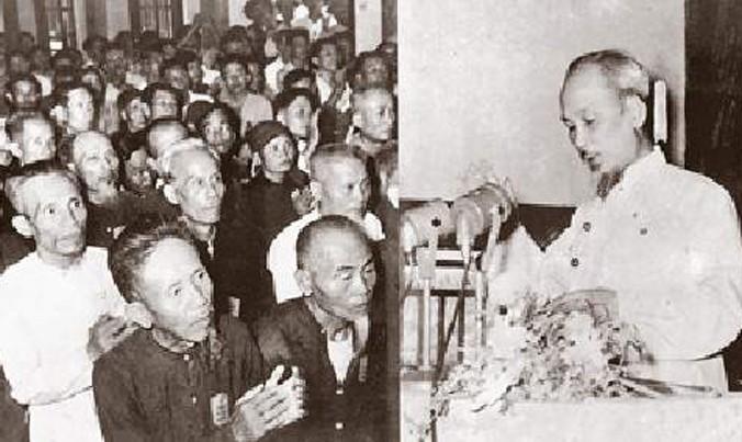 Bác Hồ nói chuyện với 400 đại biểu khi về thăm lại tỉnh Thanh Hóa ngày 13/6/1957.