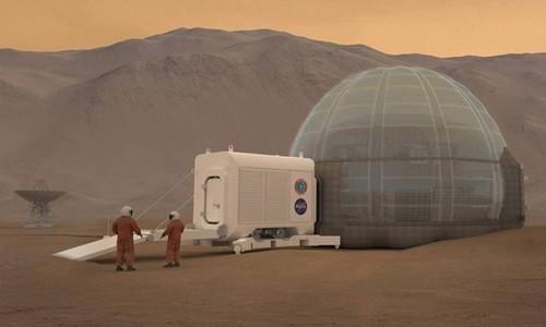 Mô hình căn cứ dành cho các nhà thám hiểm trên sao Hỏa. Ảnh: NASA