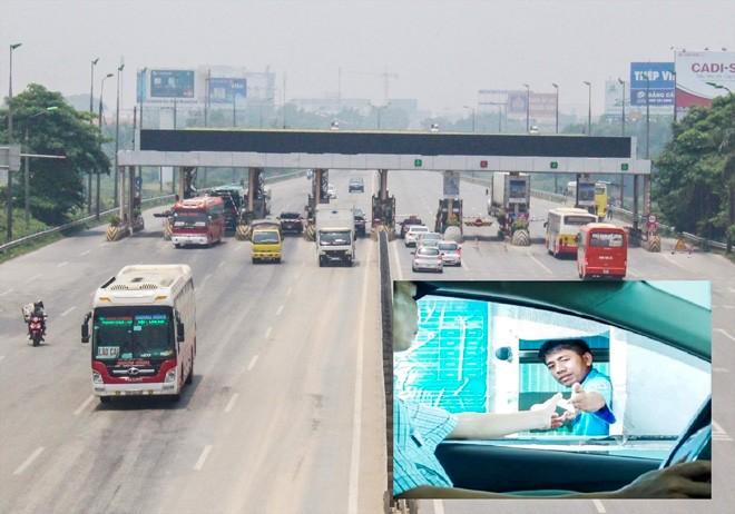 Từ việc phải trả phí BOT 8 năm qua (ảnh nhỏ), gần 10 ngày nay ô tô đi qua trạm Bắc Thăng Long không bị chặn lại trả tiền Ảnh: T.Đảng