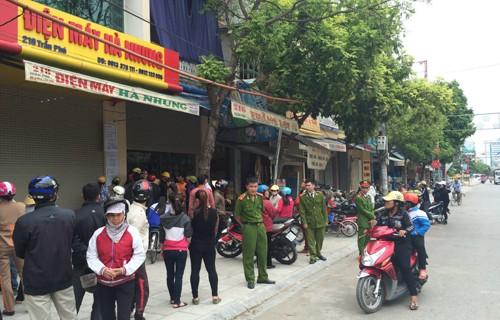 Cửa hàng điện máy Hà Nhung - nơi xảy ra sự việc kinh hoàng. Ảnh: Vnexpress