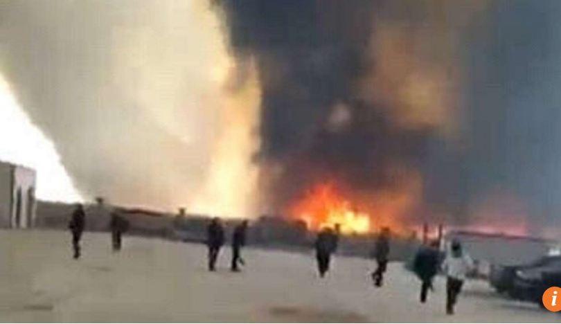 Vụ nổ kinh hoàng ở tỉnh Liêu Ninh, Trung Quốc nhìn từ xa.